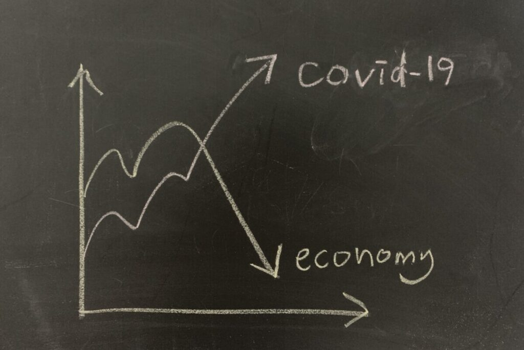 chart drawn in chalk detailing the impact of COVID-19 to the economy