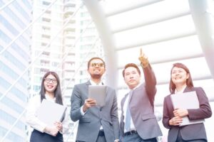 group of professionals with leadership qualities
