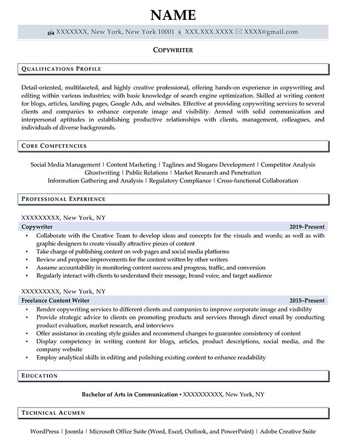 Entry Level Resume Copywriter