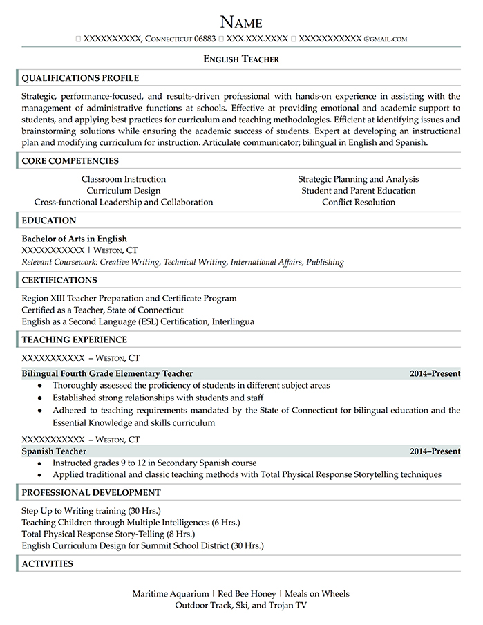 Entry Level Resume English Teacher