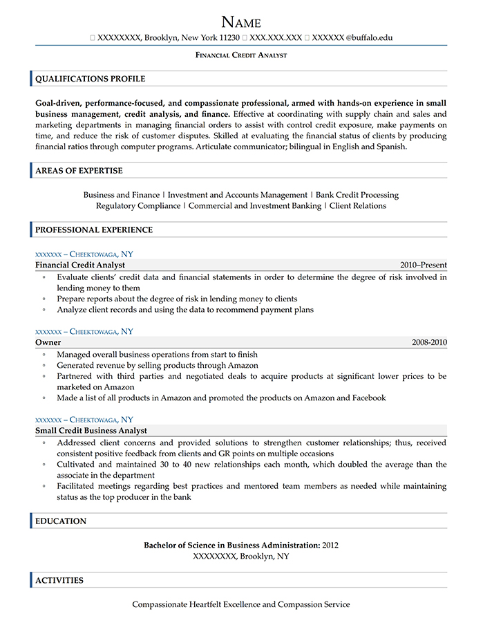 Entry Level Resume Financial Credit Analyst