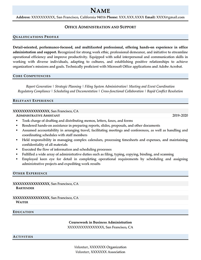 Entry Level Resume Office Administration and Support