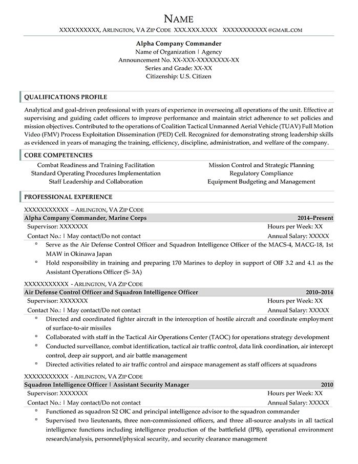 Federal Resume Alpha Company Commander Page 1