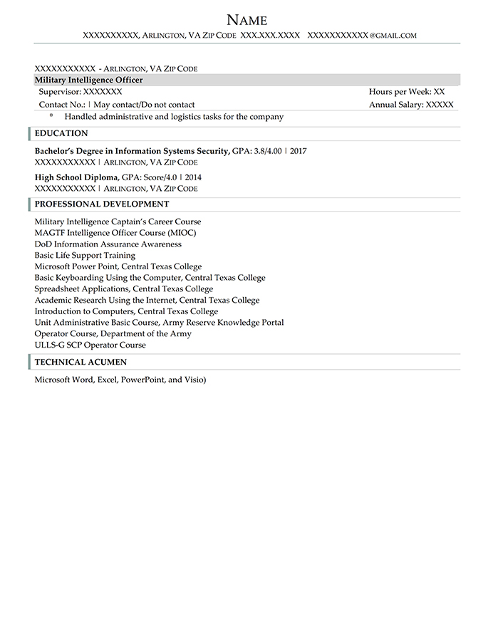 Federal Resume Alpha Company Commander Page 2