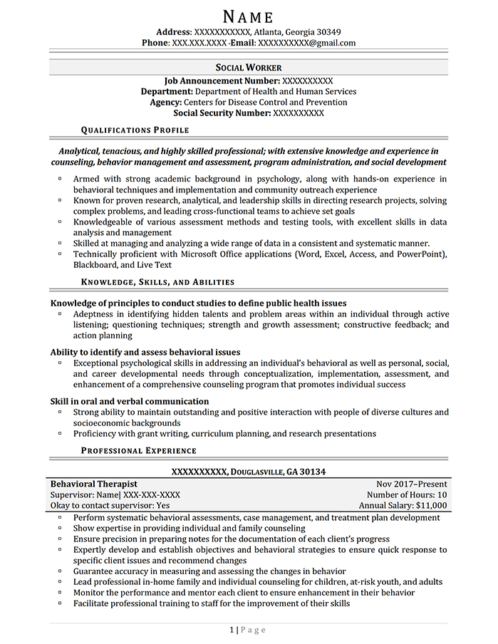 Federal Resume Social Worker Page 1