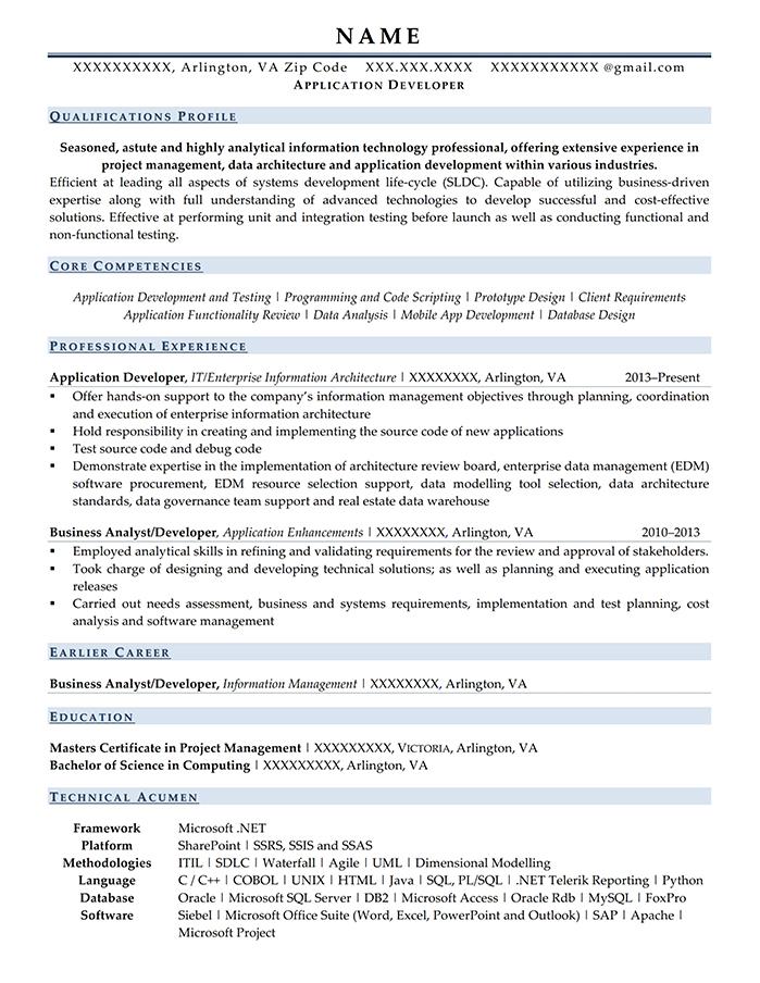Military Transition Resume Application Developer