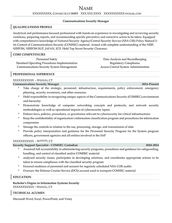 Military Transition Resume Communications Security Manager