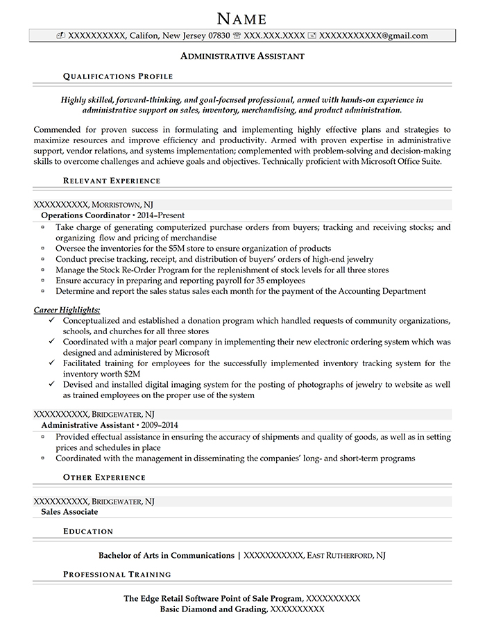 Professional Resume Administrative Assistant