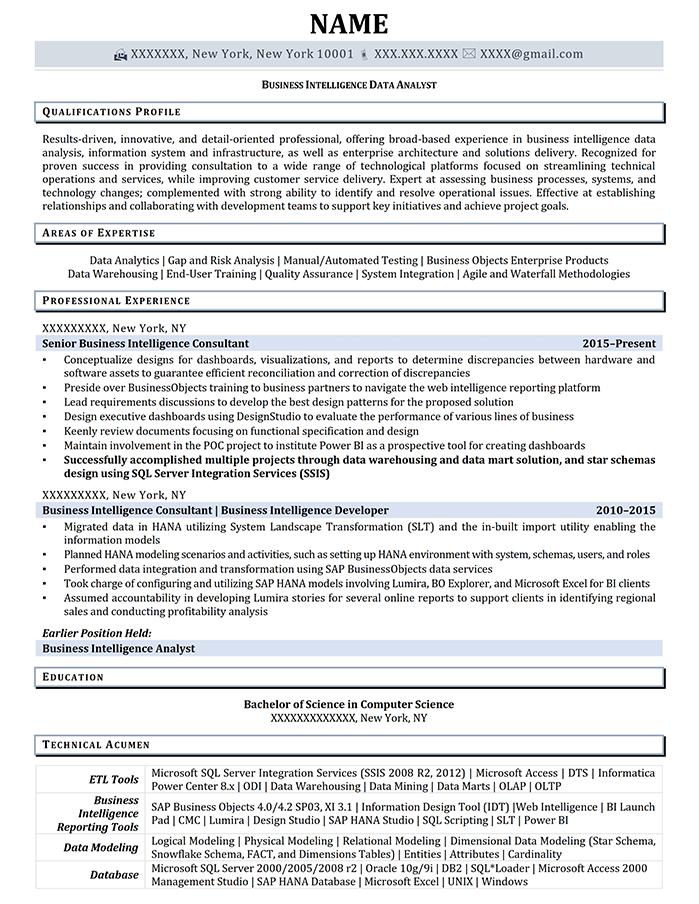 Professional Resume Business Intelligence Data Analyst