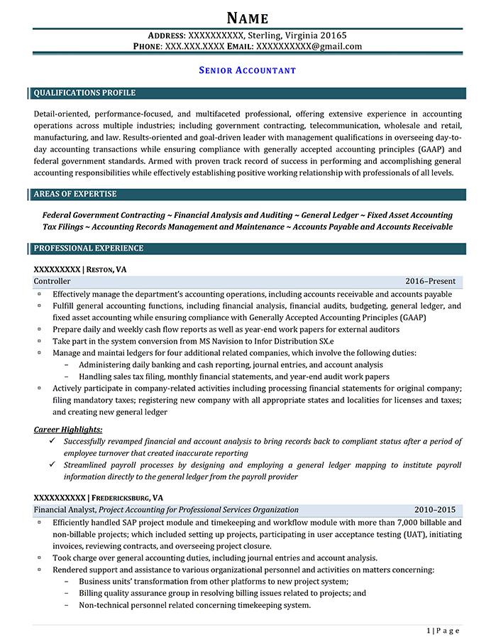 Professional Resume Senior Accountant Page 1