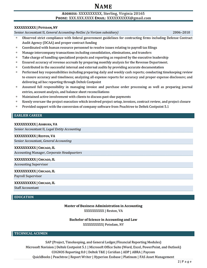 Professional Resume Senior Accountant Page 2