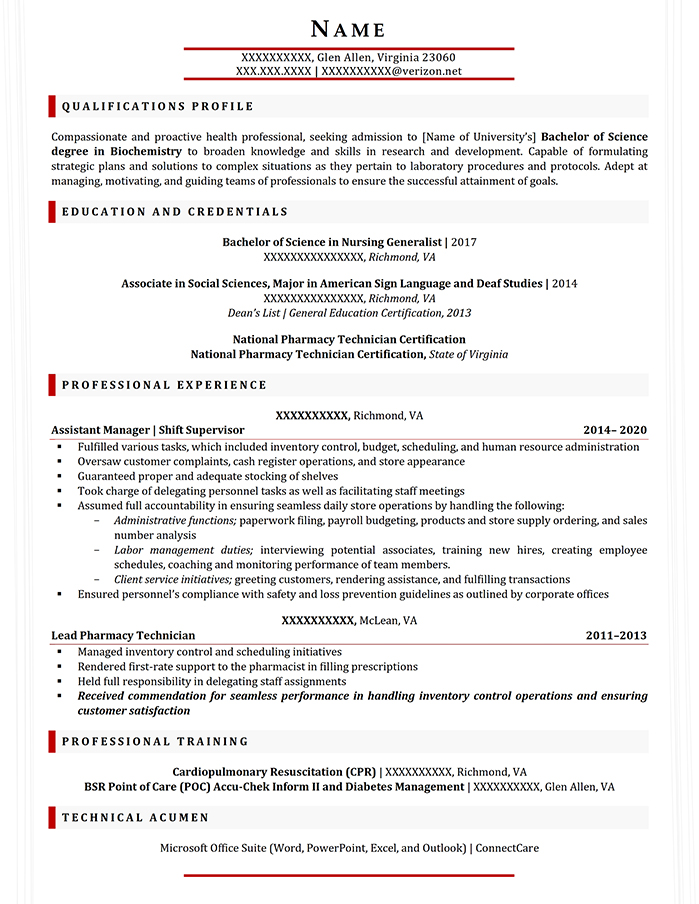 Student Resume Bachelor of Science in Biochemistry Minor in Biology