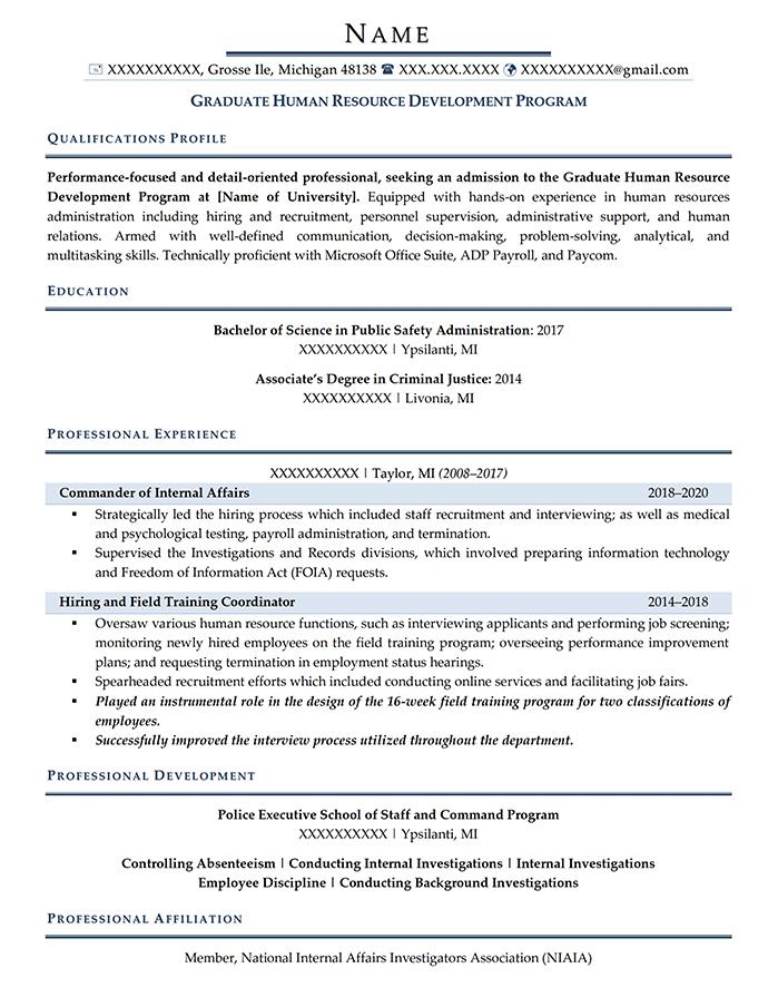 Student Resume Graduate School Admission